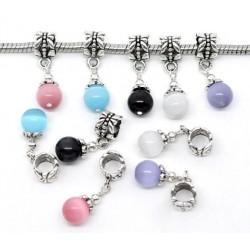 Pendentif style Pandora avec perle oeil de chat, bélière papillon