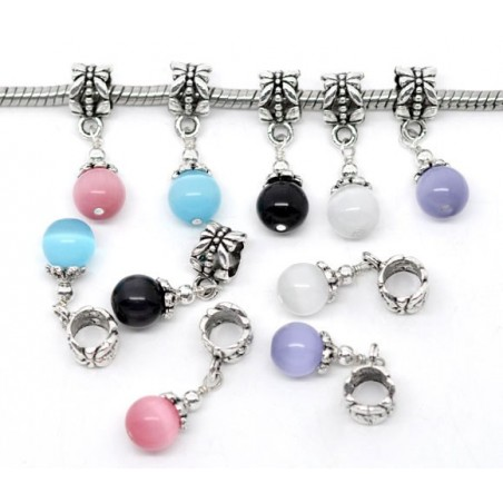 Pendentif style Pandora avec perle oeil de chat