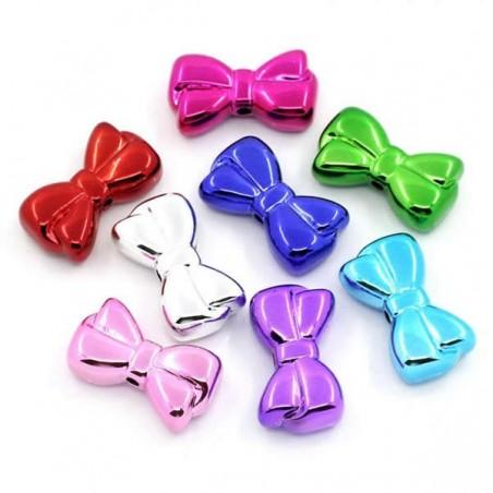 Perle noeud papillon couleur rmétal brillant (forme noeud de Mickey)