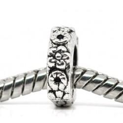 Perle intercalaire de style Pandora décor de fleurs