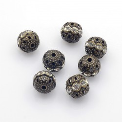 Perle métal et strass bronze antique 10 mm
