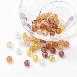 10 Perles verre craquelées tons automne, caramel 6 mm