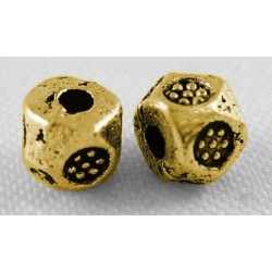 Perle métal polygone 4 mm couleur or antique