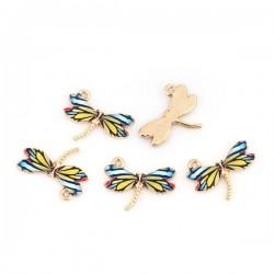 Breloque libellule émaillée et dorée pour vos bijoux fantaisie