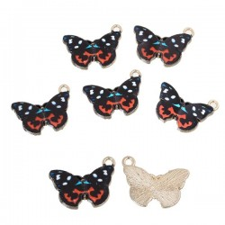 Breloque papillon multicolore émaillé et doré