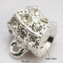 Bélière couleur argent en alliage argenté avec strass pour bijoux style Pandora ou européen
