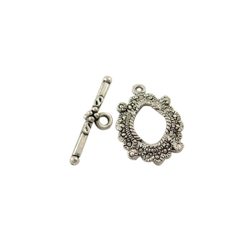 Ensemble Fermoir toggle couleur argent antique, gravé pour collier, bracelet...