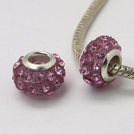 Perle rondelle résine et strass rose Style Pandora (bijou européen)