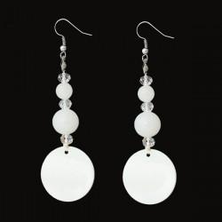 Boucles d'oreilles blanches nacre et perles de verre