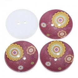 4 Boutons en bois 4 cm fleurs multicolore