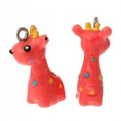 Pendentifs en Résine Girafe rouge rosé à pois