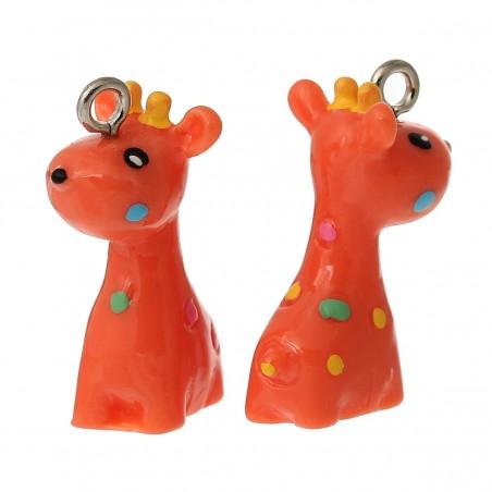 Pendentifs en Résine Girafe rouge orangé à pois