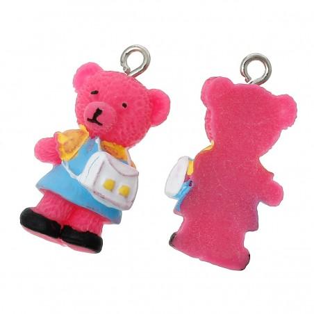 Pendentif ours Teddy écolier avec sac à dos