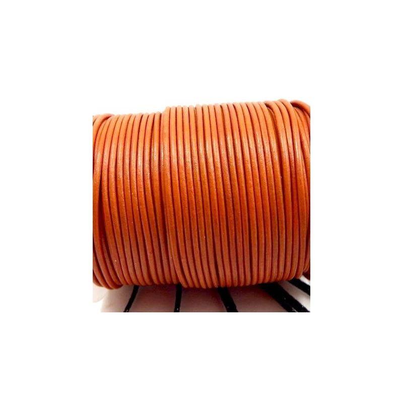 Cordon en cuir véritable, rond orange 3 mm, vendu au mètre pour collier, bracelet, bijoux...
