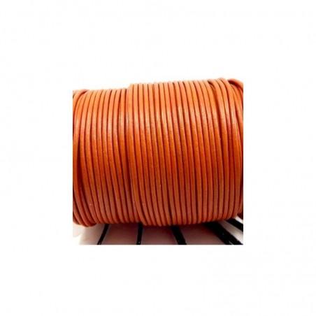 Cordon en cuir rond orange 3 mm