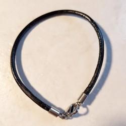 Bracelet style pandora cuir 18 cm, pour charm, perles européennes style pandora, autres longueur sur demande