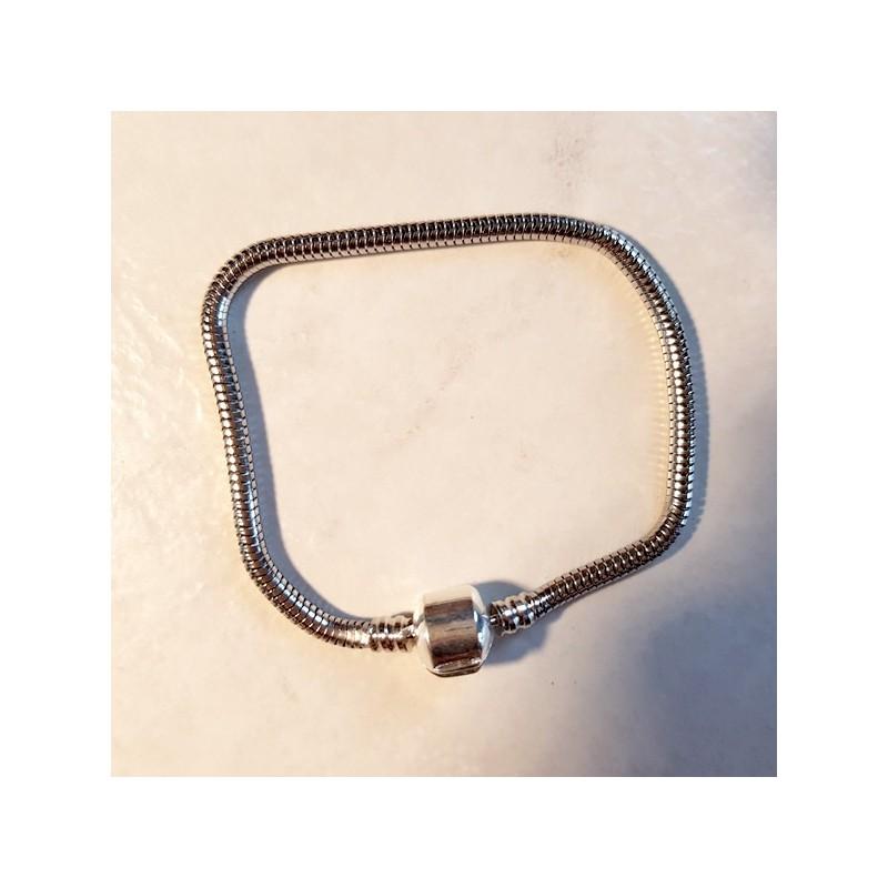 Style pandora Bracelet chaine serpent 18 cm fermoir clip