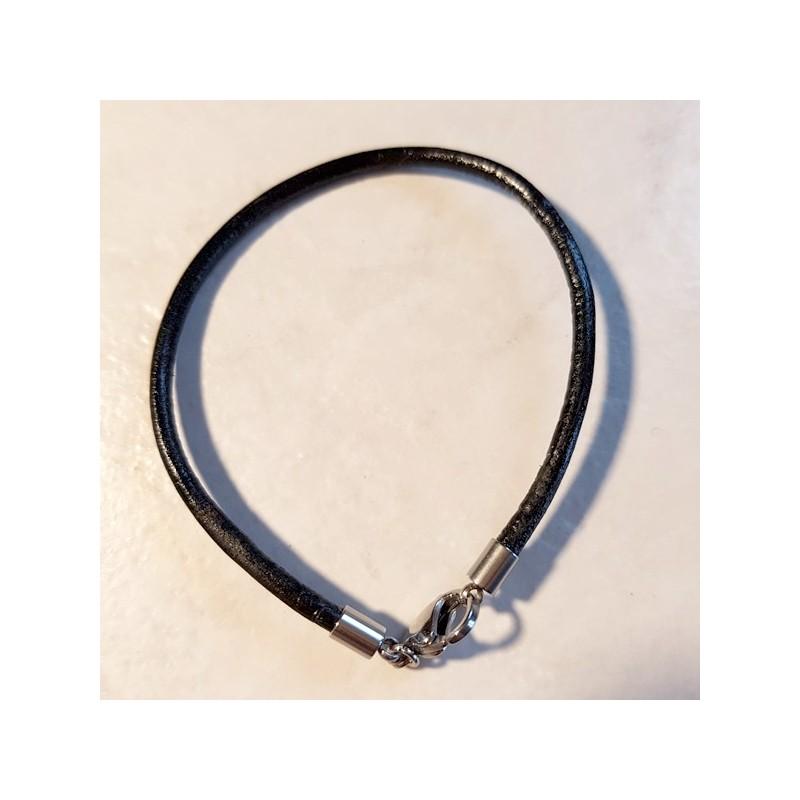 Bracelet pour bijou charme cuir avec mousqueton en métal argenté 19 cm