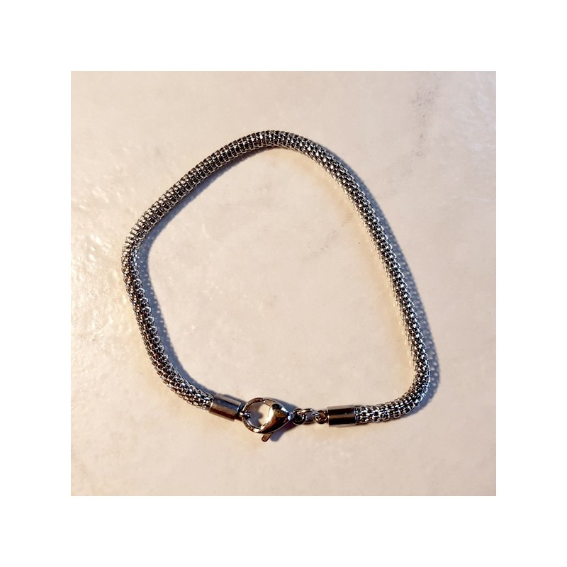 Style pandora Bracelet chaine ajourée 19 cm fermoir mousqueton