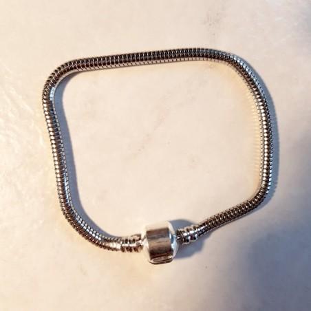 Style pandora Bracelet chaine serpent 19  cm fermoir clip