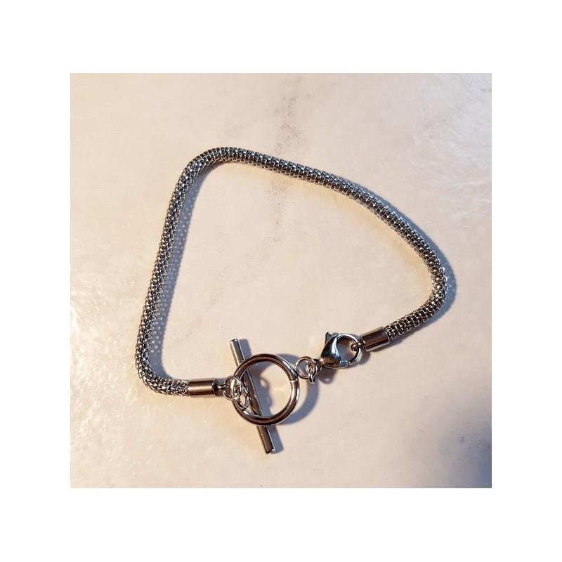 Style pandora Bracelet chaine serpent et fermoir toogle en acier inoxydable - 18 cm