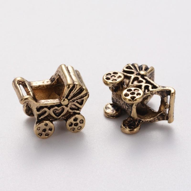 Style Pandora perle forme de poussette landau couleur or antique