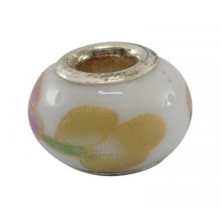 Perle  style Pandora (bijou européen) en porcelaine fleur jaune rose et vert sur fond blanc