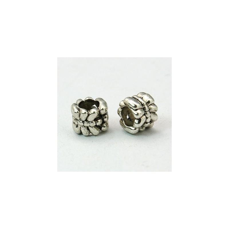 Perle intercalaire style Pandora (bijou européen) décor sculpté libellule couleur argent antique