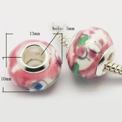 Perle Porcelaine style Pandora tons rose et blanc