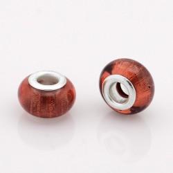 Perle résine style Pandora rouge scintillant.