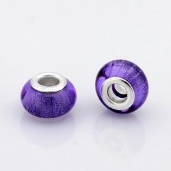 Perle résine style Pandora violet scintillant.