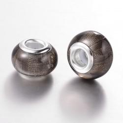 Perle résine style Pandora noir anthracite  scintillant