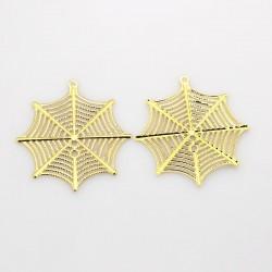 Araignée pendentifs en filigrane web plaquage de fer, or, 42x39x0.7 mm, Trou: 1 mm