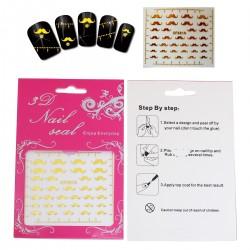 Sticker d'ongle décor moustache couleur dorée autocollant