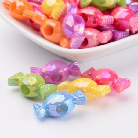 10 Perles acryliques forme de bonbon couleurs AB mélangées