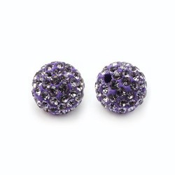 Perle strass ronde 10 mm en argile polymère - violet (tanzanite)