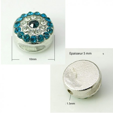 Perle ronde 10 mm strass bleu turquoise et platine