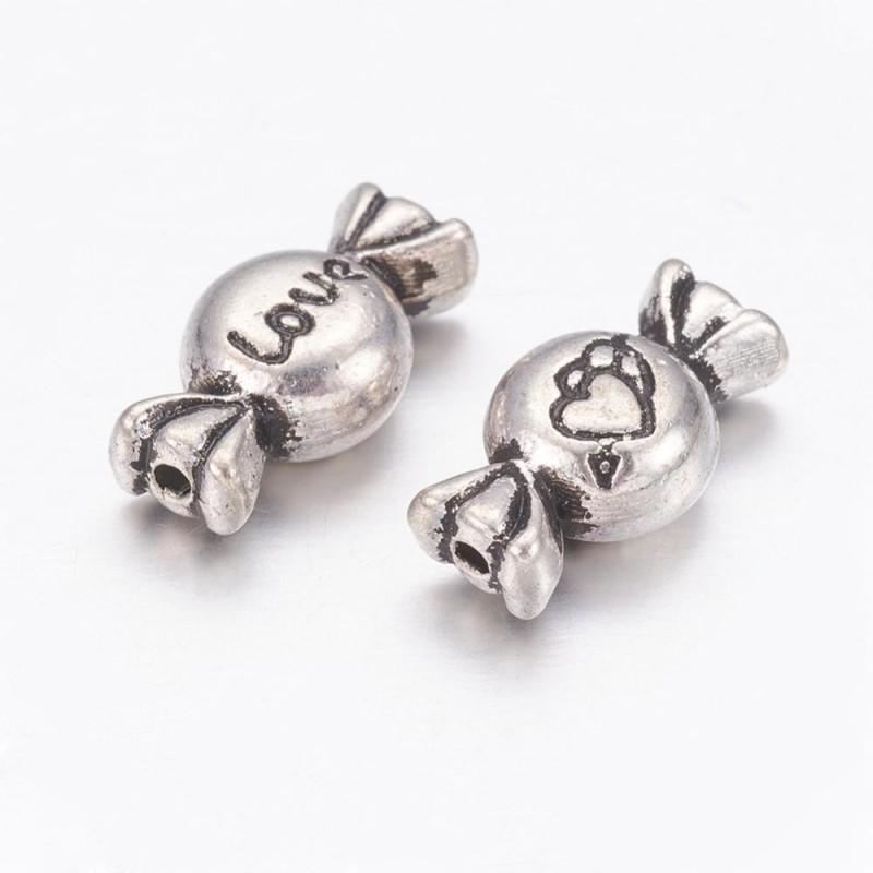 Perle métal forme bonbon, couleur argent antique - 11 mm