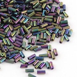 Perles tube en verre couleur AB irisé, pourpre en passant par toutes les couleurs