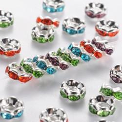 10 perles séparateur 6 mm en laiton avec strass, couleurs mélangées