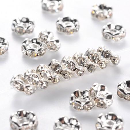 10 perles séparateur 6 mm en laiton avec strass transparent