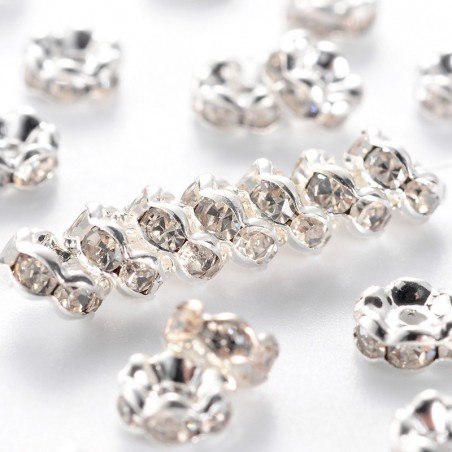 10 perles séparateur 5 mm en laiton avec strass transparent