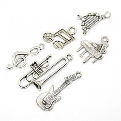 Pendentifs Clé sol, double croche, harpe, piano, trombone et guitare