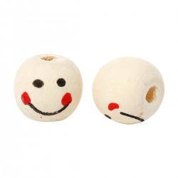 10 Perles en Bois visage smiley Forme tonneau couleur naturel