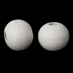 30 perles bois rondes couleur blanc