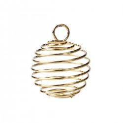 Pendentif cage pour perle enroulé en spirale couleur dorée
