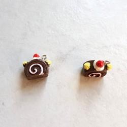Breloque cupcake en résine tranche gateau marron
