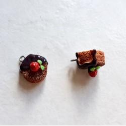 Breloque cupcake en résine gateau rond marron