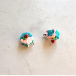 Breloque cupcake en résine gateau rond bleu et rose