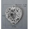 Coeur pendentif ajouré argenté et évidé